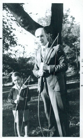 This photo was taken in 1934, four years before Zwickey Archery was officially in business. Shown is Jack Zwickey and his father, Cliff, the man who started it all.