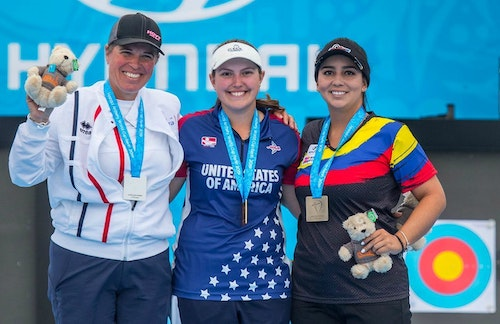 Left to right: Sophie Dodemont from France took the silver in Berlin, Team USA's Alexis Ruiz with gold and Sara Lopez from Colombia with bronze.