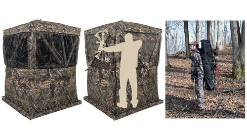 The Browning Envy pop-up blind includes a bow hanger, deluxe stakes with tie-downs, brush loops, four gear pockets, and a carry bag. Overall weight is 23 pounds.