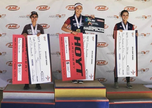 Standing on top the podium at the recent Arizona Cup USAT event is Casey Kaufhold, the 15-year-old daughter of Carole and Rob Kaufhold, founder and CEO of Lancaster Archery Supply, Inc.