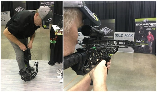 A representative for Gearhead demonstrates how easy it is to cock the 125-pound-draw X16 Target crossbow by hand if desired. Gearhead builds the only crossbow on the market where this is possible. The X16 Target still sends an arrow downrange at speeds up to 350 fps.