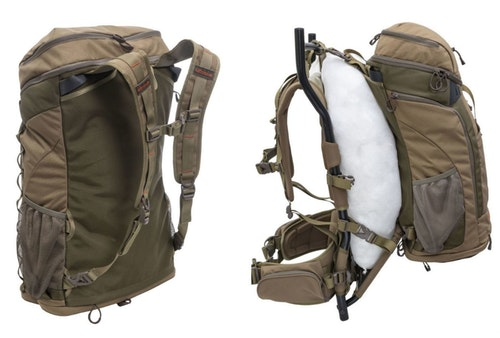 Left: The standalone 3,900-cubic-inch backpack removed from the external frame. Right: Meat can be hauled in game bags (not included) secured to the Trophy X's external frame.