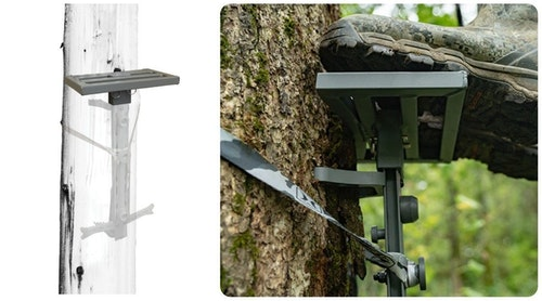 The Hawk Helium HSP Platform mounts to the top of a Hawk Helium Climbing Stick.