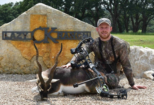 Archery Business and Bowhunting World columnist Darron McDougal with a fine black buck taken during the May 2019 FeraDyne media event at Lazy CK Ranch.
