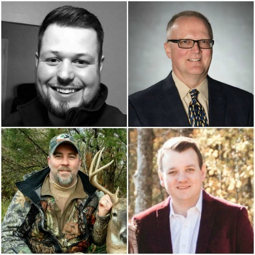 Speakers for the Tuesday Educational Seminars include, clockwise starting at the top left, Collin Cottrell, William Napier, Chris O'Hara and Nathan Dudney.