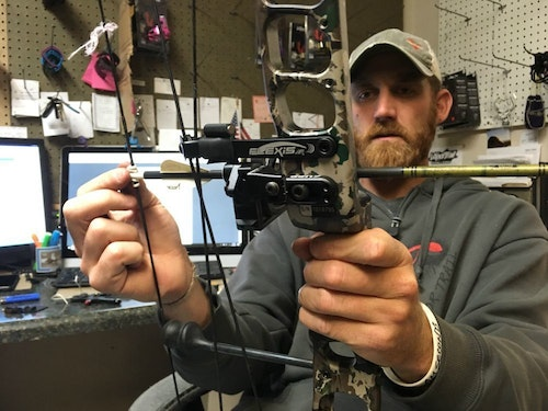 "Jerrod ""Ears"" Meyer of Vapor Trail Archery recommends replacing strings/cables before they are needed to avoid an expensive hospital visit."