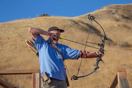 The author shooting 3-D targets during the Hollywood Celebrity Archery Shoot.