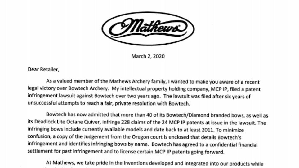 Mathews Wins Major Lawsuit Against Bowtech