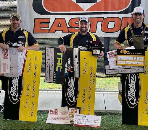 Left to right: Chris Hacker (third place Men's Open Pro), Dan McCarthy (first place) and Levi Morgan (second place).