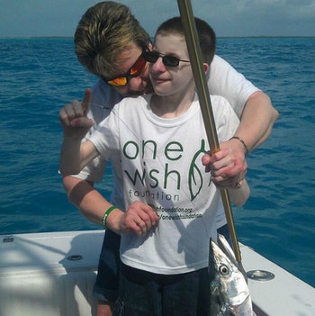 Noah Wagner and his mom during his One Wish Foundation fishing trip to the Florida Keys.