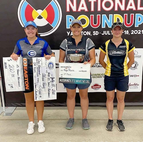 Paige Pearce (above center) is the NFAA Outdoor National Target Champion, in addition to breaking three national records.