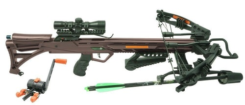 The RM-415's kit includes a Quiet Crank, rope cocker, scope, quiver and three bolts with field points.