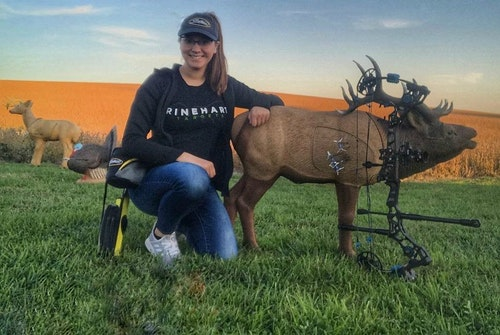 With the Rinehart 1/3 Scale Woodland Elk 3-D target, bowhunters can simulate a 60-yard shot from only 20 yards.