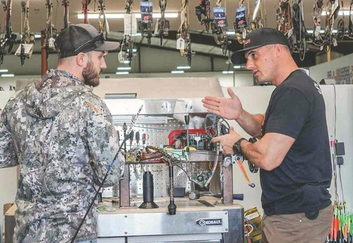 Phil Mendoza, owner of No Limits Archery in Denver, Colorado, always includes a bow set up drill during an interview, but points out that you should never expect a new hire to be a perfect technician.