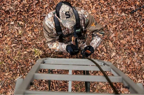 Many believe treestand safety can take a back seat when hunting from ladder stands. Not true! Studies show that 20 percent of treestand fatalities happen out of ladder stands. Staying connected 100 percent of the time is a must no matter the treestand type.