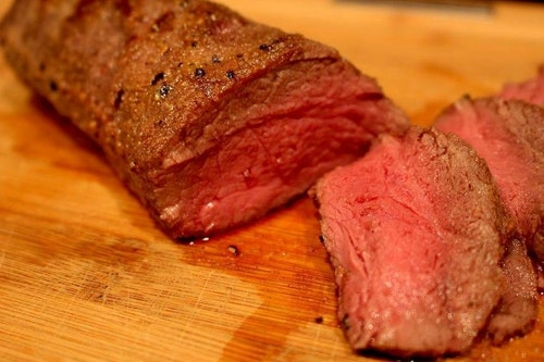 Need a quick and easy idea for backstrap or tenderloin in the freezer? Check this out.  Take a tablespoon of Hi Mountain Venison Rub and mix it with 2 tablespoons of olive oil. Then, baste a piece of venison backstrap with the mixture. In a skillet, add 2 tablespoons of butter and olive oil. Once the butter melts and starts to sizzle, place the venison in the skillet and sear the meat for 1 minute, then turn it over. Next, put the skillet in the oven and cook the venison until it hits 130 degrees internal temperature. Place the venison on a cutting board to rest 15 minutes before slicing and serving. So good . . .