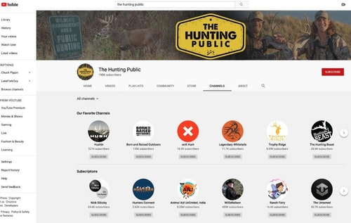 """Viewers who tune into The Hunting Public are likely to watch those other YouTube channels listed under the group's """"Our Favorite Channels"""" and """"Subscriptions"""" tabs."""