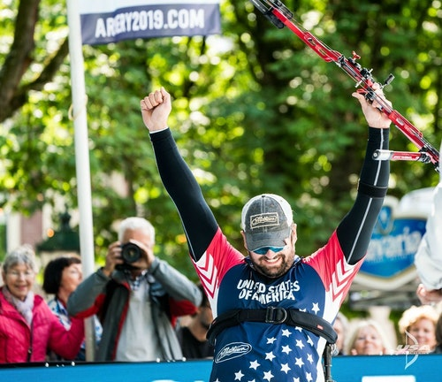 Team USA's Ben Thompson celebrates a victory.