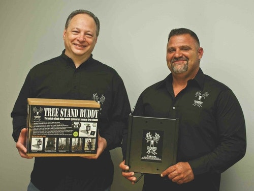 Hunting partners, Paul Petrino (left) and Dave Milazzo (right) founded Tree Stand Buddy with the goal of making the process of hanging a treestand safer.