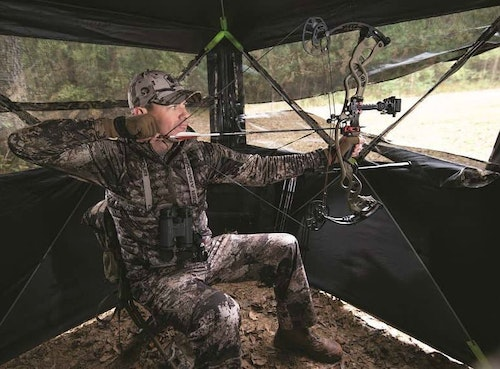 TruView panels in the new Summit Viper ground blind enable hunters to see animals approaching from almost any direction.
