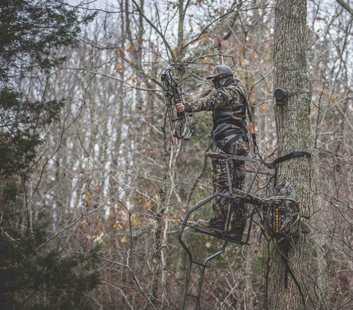 The ZeroTrace unit mounts easily to a tree or a ground blind and delivers continuous concealment from game.