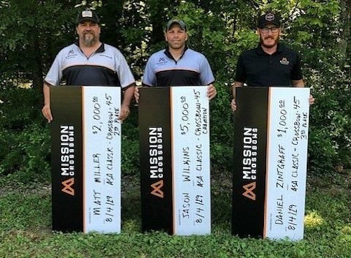 Left to right: Matt Miller (second place), Jason Wilkins (first place) and Daniel Zintgraff (third place) swept the podium for Mission Crossobows, giving shooters from Mission Crossbows a perfect six-event sweep during the 2019 season.