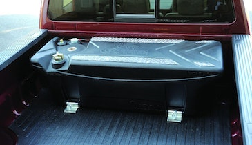 In-bed polyethylene diesel fuel tank reduces weight, prevents corrosion