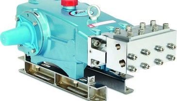Plunger pump with two-piece manifold delivers high pressure and flow