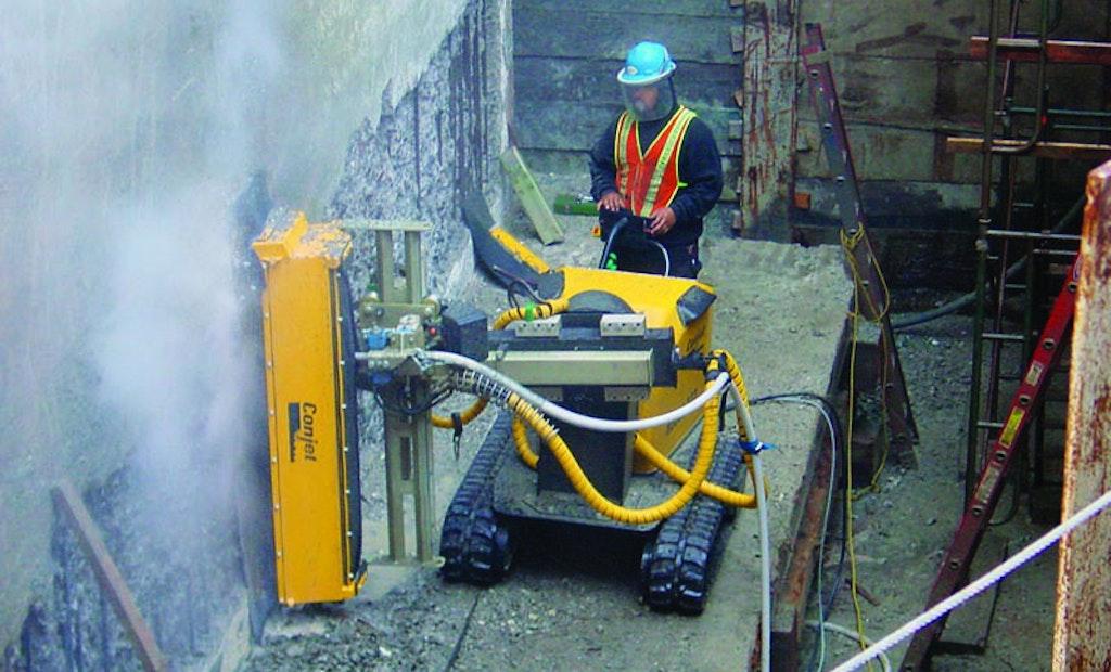 Hydrodemolition Robot Removes Concrete, Cleans Rebar