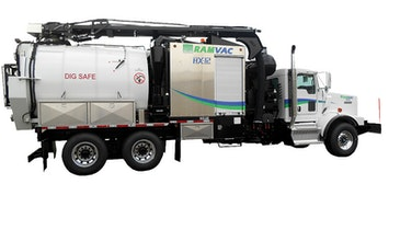 Hydroexcavator loads, off-loads debris in same location