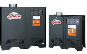 Stationary hot-water pressure washers available in natural gas, LP models