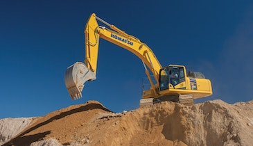 Hydraulic Excavator's Larger Undercarriage Increases Over-The-Side Lift Capacity
