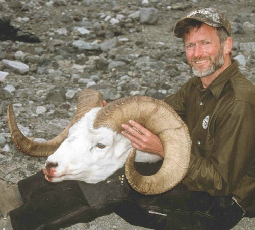 My biggest ram ever, taken on the glacier backpack trip. He measured 42 inches on one side, 39.5 inches on the other, with 14.5-inch bases.