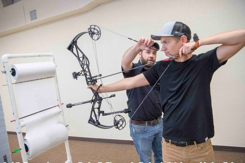 You should be able to draw back the bowstring smoothly while keeping the bowsight anchored on your target.