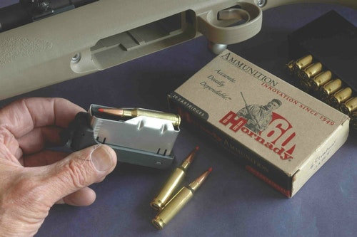 The Hunter has Kimber's first detachable box. Chamberings include .257 Roberts, 6.5 Creedmoor.