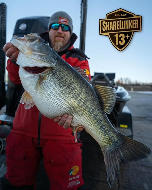 FB post from Feb. 20, 2021: O.H. Ivie produced the fifth Legacy Class ShareLunker of the 2021 season with this 16.40lbs tank caught by angler Joe McKay of Bussey, IA!! This fish is also the pending new lake record! Congratulations, Joe and thank you for helping make bass fishing bigger and better in TX!