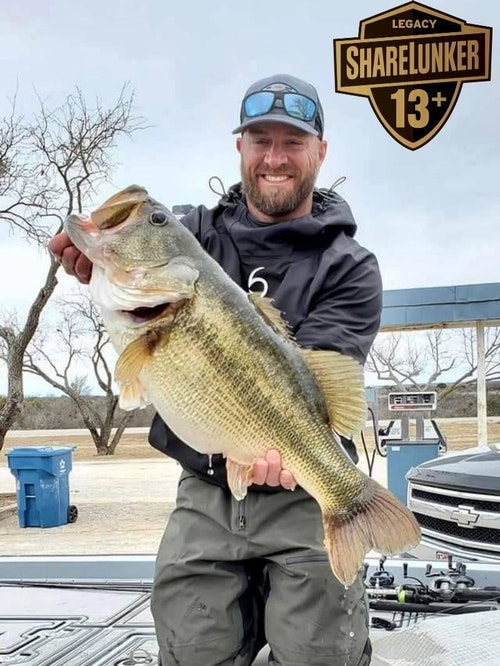 FB post from Feb. 25, 2021: You get one guess for what Lake produced two ShareLunkers today! Oh yes, that's right, O.H. Ivie. SL#593 (14.4lbs; above) and SL#594 (14.2lbs; below) are headed to Athens. Congratulations to Brett Cannon of Willis TX (above) and Casey Sobczak (below) of Spring TX.
