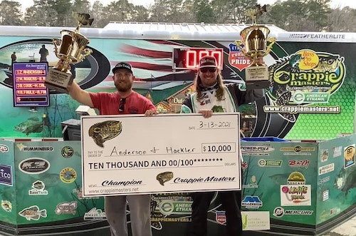 Dillon Hackler (left) and Zeke Anderson celebrate their narrow victory at the 2021 Crappie Masters Grenada Lake event. Below is their reaction after seeing their second day weight of 21.51 pounds for seven fish.