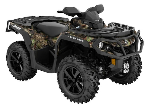The 2019 Can-Am Outlander 850 XT is available in Intense Red, Black/Can-Am Red and Mossy Oak Break-Up Country.
