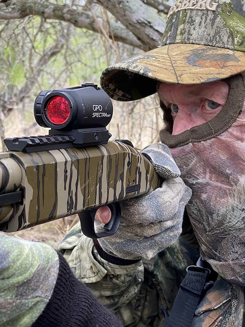 Adding an optic sight to the .410 will make precise shooting so much easier than when using open sights.