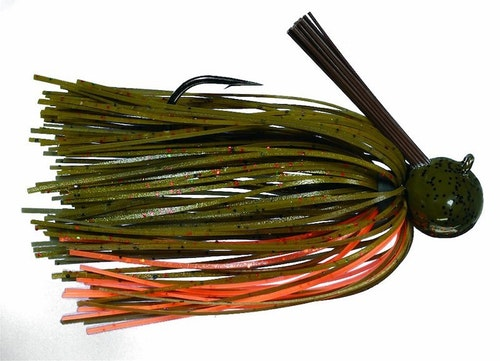 A jighead like Strike King's Tour Grade Football Jig Bait is made for deep-water fishing during breaks in winter weather when the water temps are rising, but the bass remain sluggish. Photo: Strike King