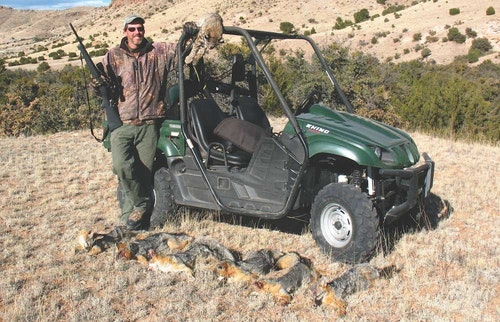 The author's Yamaha Rhino served as an ideal predator-hunting vehicle. He used it during a nighttime spotlight hunt, resulting in a $400 payday. Day or night, ATV/UTVs offer superior predator-calling transportation.