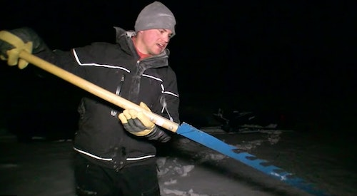 An ice saw is a critical hard-water tool for cutting large sight-fishing holes.
