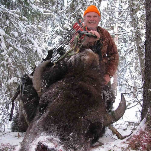 """Free-range wild bison; Wyoming, late-October 2020 (minus 6 degrees!). Adams was using a Hoyt RX4 Ultra compound. For Adams, this was No. 203 in the Pope and Young Club record book. """"I now have eight fair-chase bison entered in P&Y,"""" he said. """"The buff is one of my favorite animals...a lot harder to hunt in the wild than most people would imagine."""""""