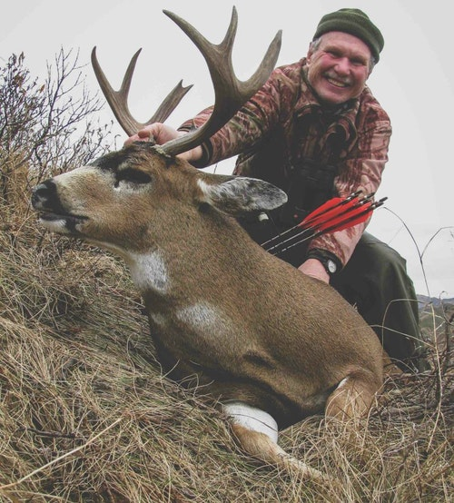The author took this record-book buck on an October 2019 DIY Kodiak bowhunt. The animal required a steep climb and difficult meat pack back to the lakeshore camp.