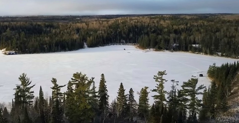Lyons Lake in eastern Manitoba is known for producing beautiful trout during the open- and hard-water seasons. Can you find Jay Siemens' ice fishing shelter in this photo?
