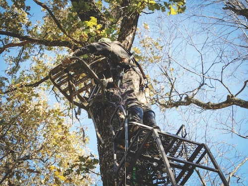 Use a summer vacation to visit your distant hunting property and accomplish chores such as putting up a network of treestands to use at a later date.