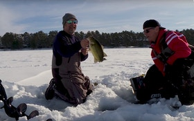 Underwater Ice Fishing Video: Bass Stalks Minnow Before Striking