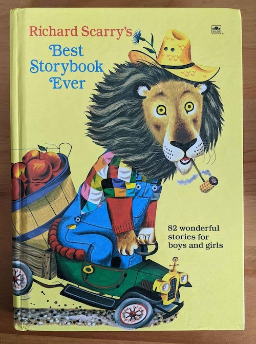 """""""Richard Scarry's Best Story Book Ever"""" measures 7 1/4 x 10 1/8 inches, and is available in both hardcover and softcover. Check before buying to ensure it contains the """"Pierre Bear"""" story."""