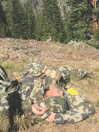 Knowing everything is in order at home, the author's wife unwinds in the backcountry and enjoys a rejuvenating nap.